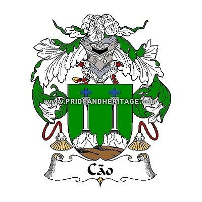 """Genealogy, Family Crest 6"""" Decal- Portuguese- Cao"""