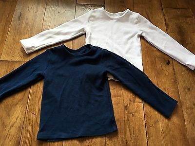 Boys Long Sleeved Thermal Vests X 3 Aged 5-6  Navy Blue & White
