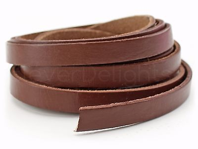 """5 Yards - 3/8"""" Genuine Leather Strapping - Brown - 5-6oz - 10mm Flat Cord - Bulk"""