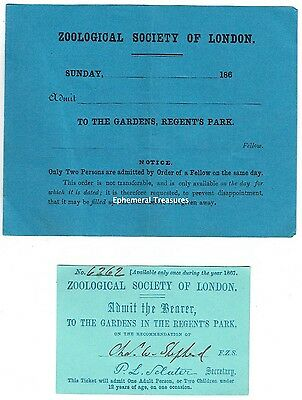 Two Original 1860s Zoological Society of London Tickets to London Zoo