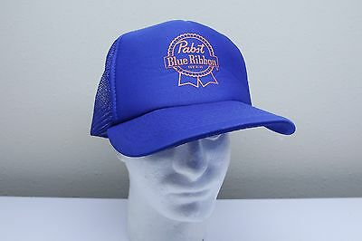 Vintage Pabst Blue Ribbon Beer PBR Blue Mesh Snapback Trucker Hat FAST SHIPPING