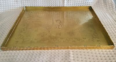 Antique Chinese Brass Export Serving Tea Tray 1890-1920 Hand Carved CHINA