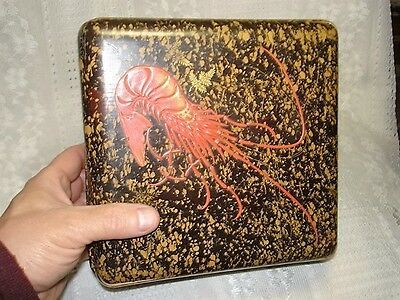 Antique Japanese or Chinese Black and Gold Speckled Lacquer Red Lobster Box