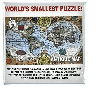 Worlds Smallest Jigsaw Puzzle Antique Map Impossible micro 234pc with tweezers