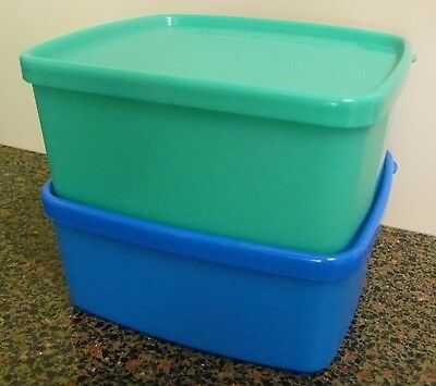 Tupperware Square Rounds Containers 400Ml X 1 Green & 1 Blue - Brand New!