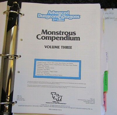 Dungeons & Dragons Monstrous compendiums lot of 6 in Binder