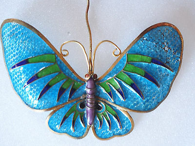 Antique Chinese Cloisonne Plique a Jour Glass Enamel Butterfly Gold Wash Pin 4""