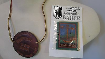 Boy Scout Gilwell Park Patch & Leather Pendant - Gilwell Reunion PRS 1974