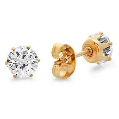 14k Gold Plated Stainless Steel Round Brilliant Cut Cubic Zirconia Stud Earrings