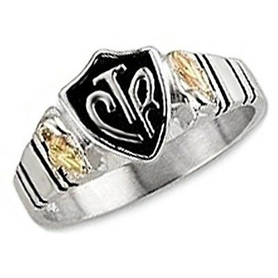Black Hills Gold on Sterling Silver CTR Mens Ring Size 9 to 14