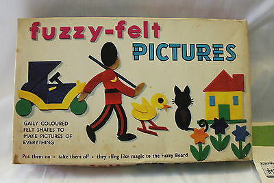 "VINTAGE 60's FUZZY FELT "" PICTURES "" ~ Cool Retro Box Artwork ~ Incomplete"