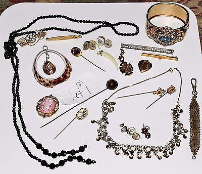 LOT 1 - 21 PC Antique Victorian Mourning Art Deco Mixed Jewelry Lot Pins Locket