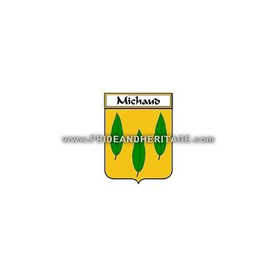 """Genealogy, Family Crest 6"""" Decal- French- Michaud"""