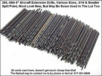 """260 Aircraft Extension Drills, 6"""" Long, Various Sizes 5/16"""" or less, USA Made"""