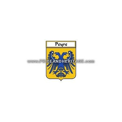 """Genealogy, Family Crest 6"""" Decal- French- Peyre"""