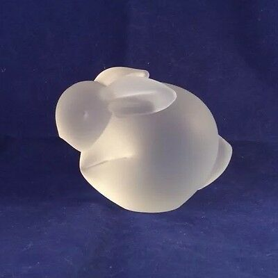 Vintage Frosted Glass BUNNY RABBIT FIGURINE Paperweight Modern Crowning Touch