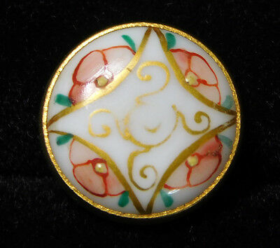 Small ANTIQUE Hand Pinted VICTORIAN Glass BUTTON