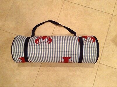 Tommy Hilfiger Roll-Up Beach Mat with Pillow and Strap Lobster Design
