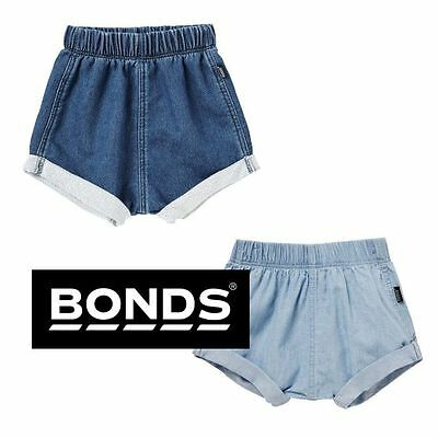 NWT Bonds Baby Girls Boys SHORTS WOVEN CHAMBRAY DENIM BLUE COTTON BY6LA / BY7FA