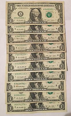 One Dollar Star Notes Lot Of Ten Beautiful Ungraded Circulated L6