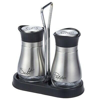 Salt and Pepper Shakers Set - High Grade Stainless Steel with Glass Bottom an...