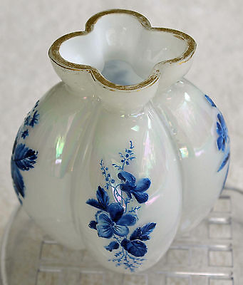 White Iridescent Milk Glass Melon Vase Hand Painted Flowers Hand Blown  ou862