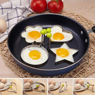 4XStainless Steel Pancake Mould Mold Ring Cooking Fried Egg Shaper Kitchen Tool