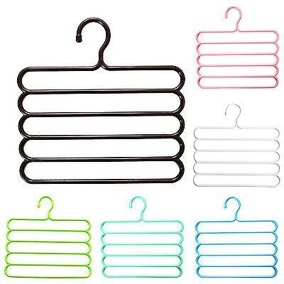 Pants Hangers Holders For Trousers Towels Clothes Apparel Hangers 5-layer C3E9