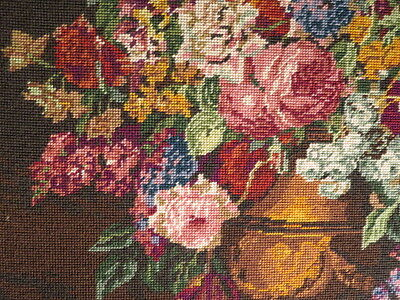 Vintage Tapestry Flowers In Brass & Wood Picture Frame 695 X 855  No Glass