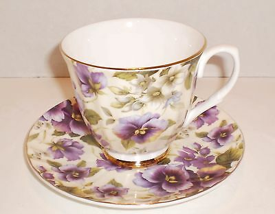 Beautiful Mayfair Bone China Cup & Saucer - Staffordshire England - Violets