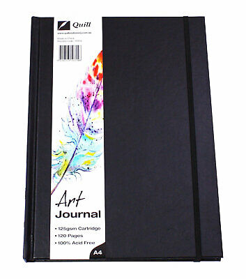 Quill A4 Art Journal Elastic Closure 125gsm 120 Page - Black