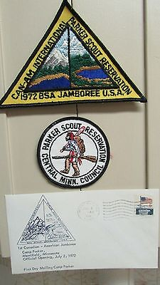 1st Canadian-American Jamboree Patches & 1st day Envelope, Merrifield MN 1972