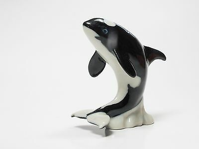 Handmade Collectible Ceramic Orca Whale Figurine Animal