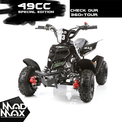 2018 Black 49cc Mini Atv Quad Bike Kids 4 Wheeler Dirt Buggy Pocket Bike