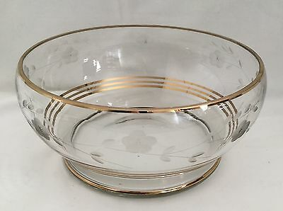 Vintage Etched Glass Bowl with Gold Trim