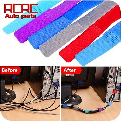 6Pcs Straps Wrap Wire Cord Organizer Cable Tie Rope Holder Line Fixer Velcro