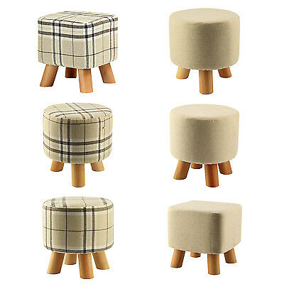 Modern Luxury Upholstered Footstool Pouffe Stool + Wooden Leg 4 Legs U2H2