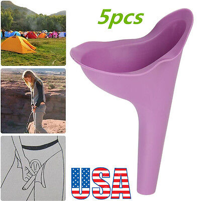 US 5pc Women Urine Urinal Funnel Urination Stand-up Toliet Female Funnel Trip