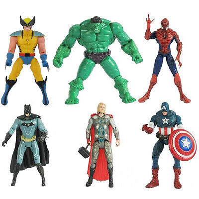 6pcs Action Figure New The Avengers Hulk Captain America Thor Iron Man Movie Toy