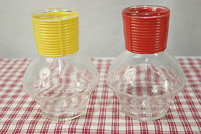 TWO McKee Glasbake Hottles Red and Yellow Hot / Cold Carafe EXC+