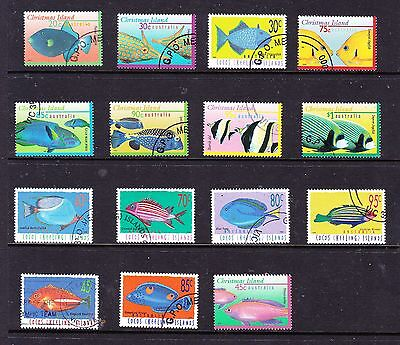 Cocos Keeling Island stamps - 14 CTO Full Gum & 1 Used Fish stamps