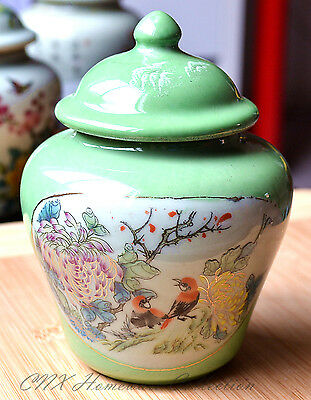 Hand Made Reproduced Antique Oriental Small Green Ginger Jar Flowers and Birds