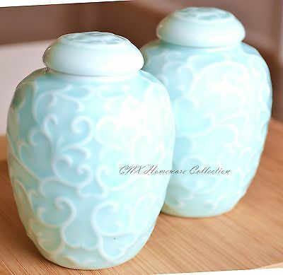 A Pair of Unique Blue Green Celadon Oriental Dragon Ginger Jars House Décor