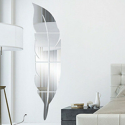 Removable 3D Feather Mirror Decal Art Diy Wall Sticker Home Room Decor Antique