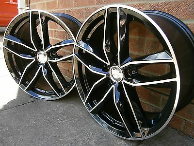 """4 X New 20"""" Rs6 Style Black/polished Alloy Wheels Only Volkswagen Transporter T5"""