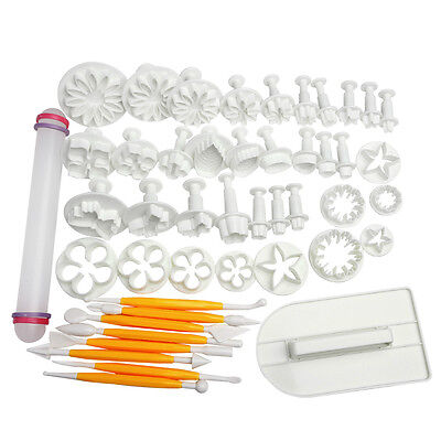 NEW Sugarcraft Cake Cupcake Decorating Fondant Icing Plunger Cutters Tools  46pc