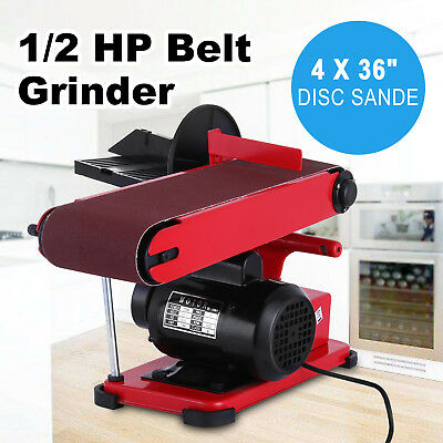 375W Bench Belt and Disc Sander Grinder Woodworking Linisher Machine Electric