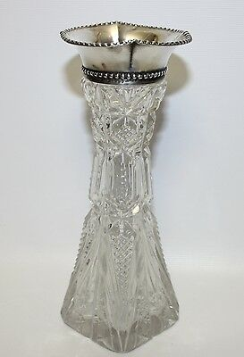 Antique Gorham Sterling Silver Mounted American Brilliant Cut Crystal Vase - Exc