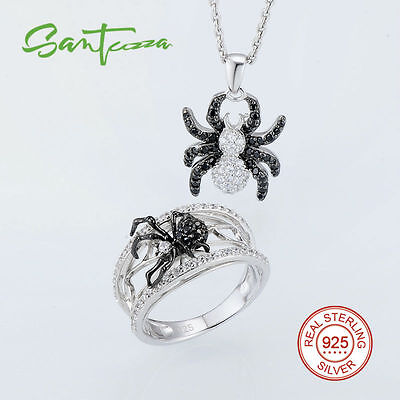 Spider Jewelry Black Spinel CZ Zirconia Ring Pendant Necklace Set 925 Sterling