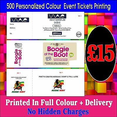 500 Personalized Colour Ticket  or  Event Tickets Printing + Cheapest in Ebay